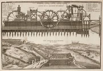 Planche 72: représentation de la Machine de Marly vers 1715 (Fer Nicolas de) - Muzeo.com
