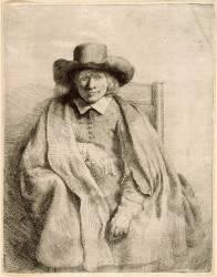 Portrait de Clément de Jonghe, éditeur et marchands d'Estampes / Gravures ; 1er état (Rembrandt Harmensz van Rijn) - Muzeo.com