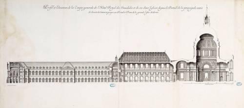 Profil et Elévation de la Coupe général de l'Hôtel Royal des Invalides et de ses deux églises [...] (Marot Jean) - Muzeo.com