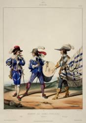 Régiment des Gardes françaises, sous Louis XIII, 1630 : fifre, tambour et enseigne (David Gustave,D'après Dunoyer...) - Muzeo.com