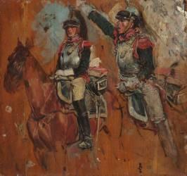 Deux cuirassiers, étude (Jean-Louis-Ernest Meissonier) - Muzeo.com