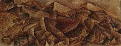 Dynamism Plastic-Horse + Building (Horse + Houses) (Umberto Boccioni) - Muzeo.com