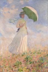 Essai de figure en plein air : femme à l'ombrelle tournée vers la droite (Claude Monet) - Muzeo.com