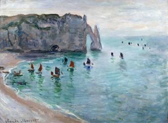 Etretat, the Porte d'Aval: Fishing boat leaving the harbour (Claude Monet) - Muzeo.com