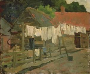 Farmhouse with Wash on the Line (Mondrian Piet) - Muzeo.com