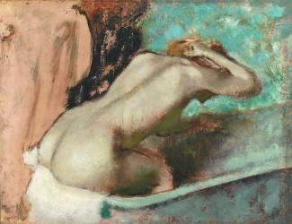 Femme assise sur le rebord d' une baignoire et s'épongeant le cou (Edgar Degas) - Muzeo.com