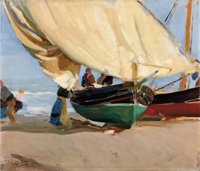 Fishermen, Stranded Boats, Valencia (Sorolla y Bastida Joaquin) - Muzeo.com