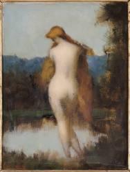 La Fée aux rochers - Nymphe debout, de dos se mirant dans l'eau (Henner Jean Jacques) - Muzeo.com