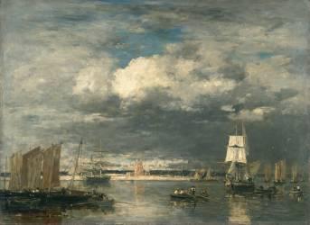 Le port de Camaret par ciel d'orage (Louis-Eugène Boudin) - Muzeo.com