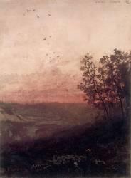 Paysage au soleil couchant, au premier plan, un berger et son troupeau (Odilon Redon) - Muzeo.com