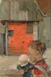 Rear Gables of Farm Buildings with Figures (Piet Mondrian) - Muzeo.com