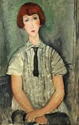 Young Girl in a Striped Shirt (Amedeo Modigliani) - Muzeo.com