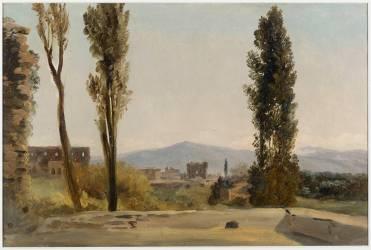 A la villa Farnèse : les trois peupliers et le Mont Latium (Valenciennes Pierre Henri de) - Muzeo.com