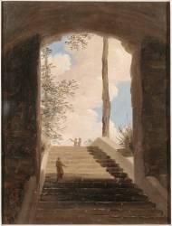 A la villa Farnèse : l'escalier (Valenciennes Pierre Henri de) - Muzeo.com
