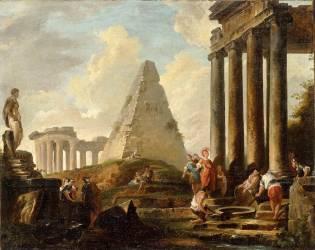 Alexandre le Grand devant le tombeau d'Achille (Robert Hubert) - Muzeo.com