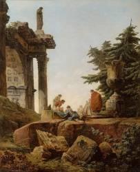 Arc de triomphe en ruines, les joueurs de cartes (Robert Hubert) - Muzeo.com