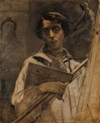 Autoportrait de l'artiste tenant une palette (Théodore Chassériau) - Muzeo.com