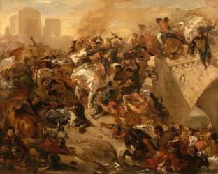 Bataille de Taillebourg gagnée par Saint Louis (21 juillet 1242) (Delacroix Eugène) - Muzeo.com