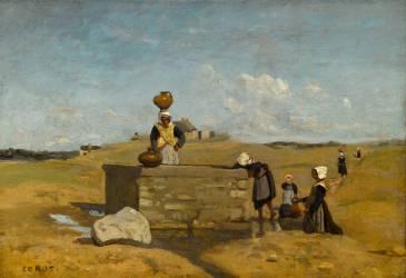 Bretonnes à la fontaine. Bourg de Batz (Loire-Atlantique) (Corot Jean-Baptiste Camille) - Muzeo.com