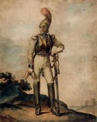 Carabinier en pied dans un paysage (Géricault Théodore) - Muzeo.com