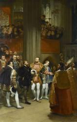 Charles Quint reçu par François Ier à l'abbaye de Saint-Denis (Gros Antoine-Jean, Baron) - Muzeo.com