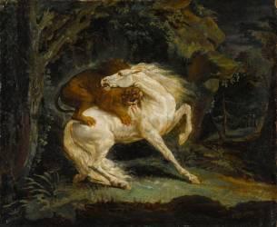 Cheval attaqué par un lion (Géricault Théodore) - Muzeo.com