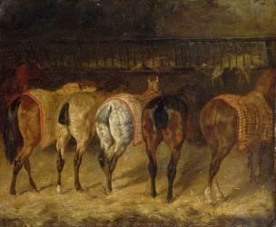 Cinq chevaux vus par la croupe, dans une écurie (Géricault Théodore) - Muzeo.com