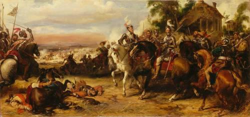 Combat de Fontaine-Française remporté par Henri IV sur les espagnols et les troupes de la Ligue, le 5 juin 1595 (Devéria Eugène) - Muzeo.com