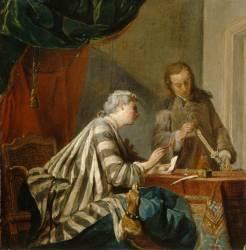 Dame cachetant une lettre (Chardin Jean Siméon) - Muzeo.com