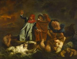 Dante et Virgile aux enfers dit aussi La barque de Dante (Eugène Delacroix) - Muzeo.com