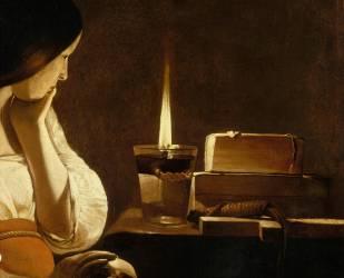 Détail de La Madeleine à la veilleuse (La Tour Georges de) - Muzeo.com