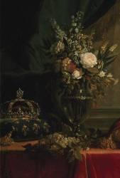 Détail de Reine Marie-Antoinette assise, en manteau bleu et robe blanche, tenant un livre à la main (Vigée-Le Brun Elisabeth...) - Muzeo.com