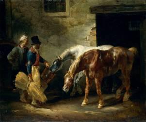 Deux chevaux de poste à la porte d'une écurie (Géricault Théodore) - Muzeo.com