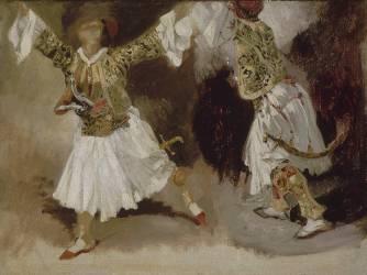 Deux guerriers grecs dansant (étude de costumes souliotes) (Delacroix Eugène) - Muzeo.com