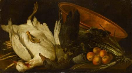 Deux oies mortes, un chaudron, un panier de pommes (anonyme) - Muzeo.com