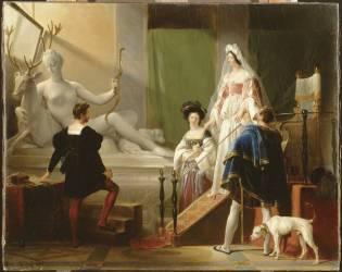 Diane de Poitiers dans l'atelier de Jean Goujon (Fragonard Alexandre-Evariste) - Muzeo.com
