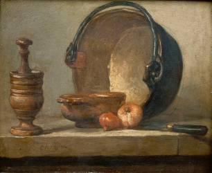 Egrugeoir avec son pilon, un bol, deux oignons, chaudron de cuivre rouge et couteau (Chardin Jean Siméon) - Muzeo.com