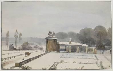 Entrée du parc de Versailles du côté de l'Orangerie, effet de neige, 1840 (Granet François-Marius) - Muzeo.com