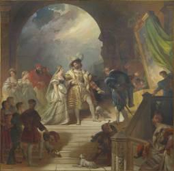 François Ier accompagné de la reine de Navarre, sa soeur, et entouré de sa cour, reçoit les tableaux (Fragonard Alexandre-Evariste) - Muzeo.com