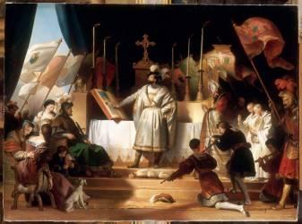 François Ier armé chevalier par Bayard au soir de la bataille de Marignan, 14 septembre 1515 (Fragonard Alexandre-Evariste) - Muzeo.com
