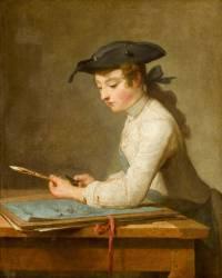 Jeune dessinateur taillant son crayon (Chardin Jean Siméon) - Muzeo.com