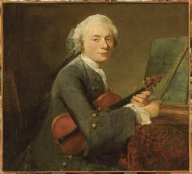 Jeune homme au violon. Charles Théodose Godefroy (Chardin Jean Siméon) - Muzeo.com