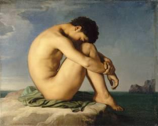 Jeune homme nu assis au bord de la mer - Etude (Flandrin Hippolyte) - Muzeo.com