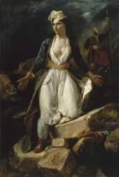 La Grèce sur les ruines de Missolonghi (Delacroix Eugène) - Muzeo.com