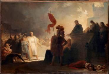 La lecture de sentence de condamnation des Templiers (Fragonard Alexandre-Evariste) - Muzeo.com