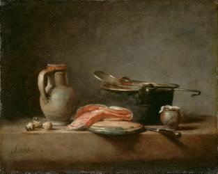 La Marmite de cuivre, écumoire, cruche et tranche de saumon (Chardin Jean Siméon) - Muzeo.com