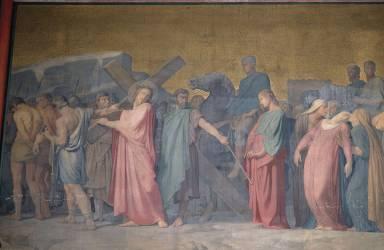 La montée au calvaire, peinture de la paroi de droite du sanctuaire, église Saint-Germain-des-Prés (Flandrin Hippolyte) - Muzeo.com