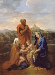 La Sainte Famille avec saint Jean, sainte Elisabeth et saint Joseph priant (Poussin Nicolas) - Muzeo.com