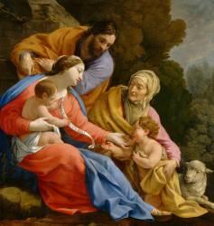 La Sainte Famille avec sainte Elisabeth et le petit saint Jean-Baptiste (Vouet Simon) - Muzeo.com