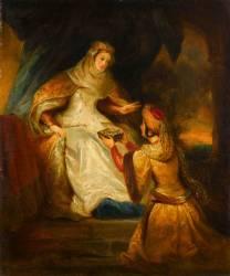 Lady Rowena recevant la cassette des mains de Rébecca (Eugène Devéria) - Muzeo.com